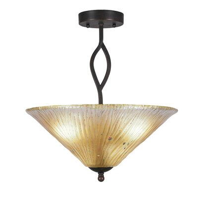 Revo 3-Light Semi-Flush Mount Shade Color: Amber