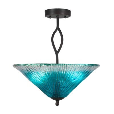 Revo 3-Light Semi-Flush Mount Shade Color: Teal