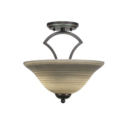 Zilo 2-Light Pendant Finish: Dark Granite, Shade Color: Cayenne