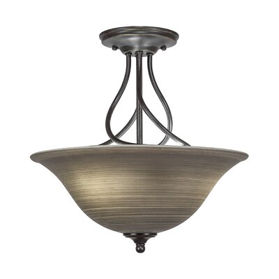 Capri 3-Light Semi-Flush Mount Shade Color: Grey Linen