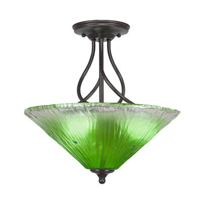 Capri 3-Light Semi-Flush Mount Shade Color: Kiwi Green