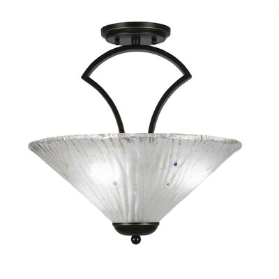 Zilo 3-Light Semi-Flush Mount Finish: Graphite, Shade Color: Amber