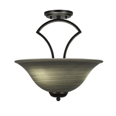 Zilo 3-Light Semi-Flush Mount Finish: Dark Granite, Shade Color: Gray