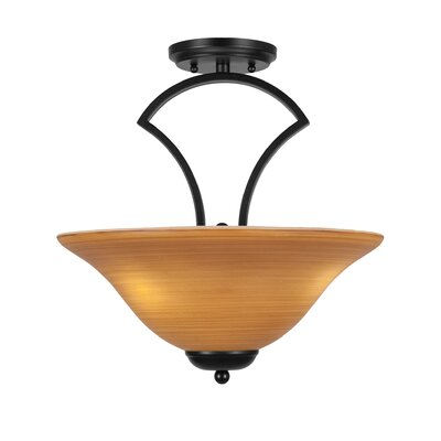 Zilo 3-Light Semi-Flush Mount Finish: Matte Black, Shade Color: Cayenne