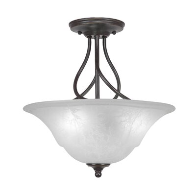 Capri 3-Light Semi-Flush Mount Shade Color: White