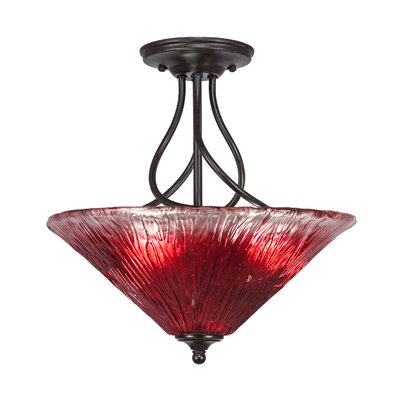 Capri 3-Light Semi-Flush Mount Shade Color: Raspberry