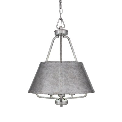 3-Light Shaded Chandelier Finish: Aged Silver, Size: 21 H X 16 W X 16 D