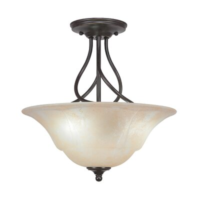 Capri 3-Light Semi-Flush Mount Shade Color: Amber