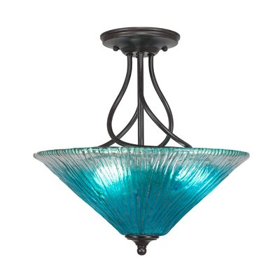 Capri 3-Light Semi-Flush Mount Shade Color: Teal