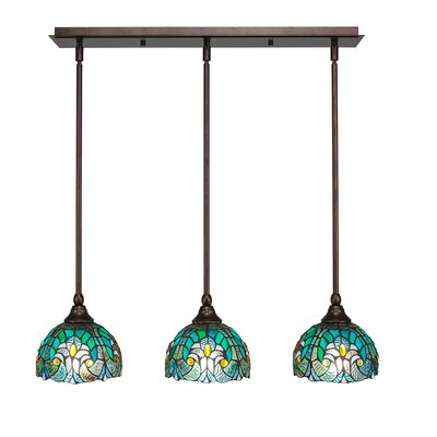 Any 3-Light Kitchen Island Pendant Shade Color: Turquoise, Finish: Bronze