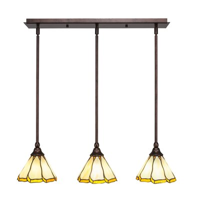 Any 3-Light Kitchen Island Pendant Shade Color: Honey and Burgundy, Finish: Bronze