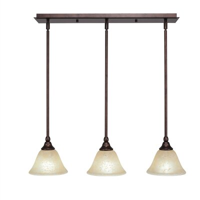 Any 3-Light Kitchen Island Pendant Shade Color: Blue, Finish: Bronze