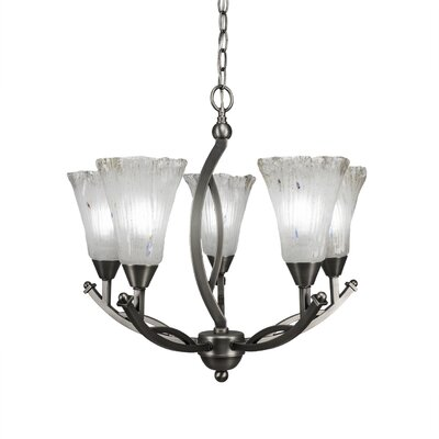 Bow 5-Light Shaded Chandelier Shade Material: Frosted Crystal Glass