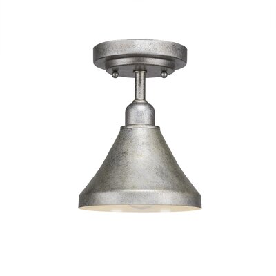Kash 1-Light Semi Flush Mount Finish: Aged Silver, Size: 9 H x 7 W x 7 D