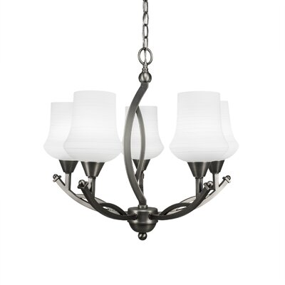 Bow 5-Light Shaded Chandelier Finish: Brushed Nickel, Shade Color: White
