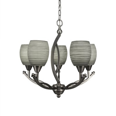 Bow 5-Light Shaded Chandelier Finish: Brushed Nickel