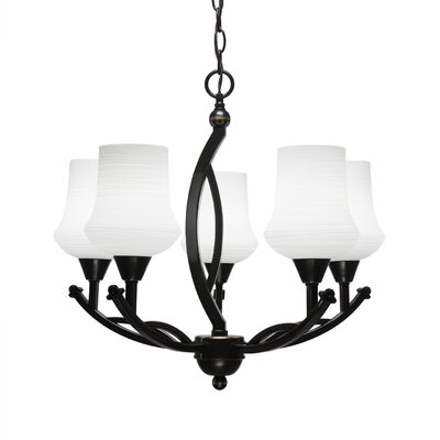 Bow 5-Light Shaded Chandelier Finish: Bronze, Shade Color: White