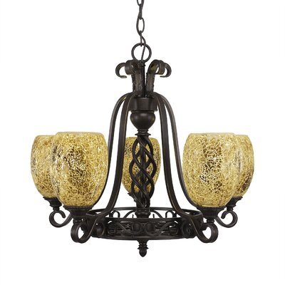 Pierro 5-Light Gold Fusion Shade Chandelier