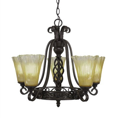 Elegant� 5-Light Shaded Chandelier Shade Color: Amber