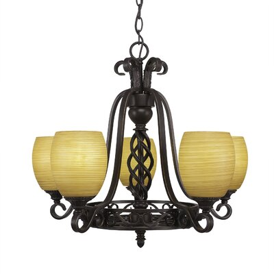 Elegant� 5-Light Shaded Chandelier Shade Color: Cayenne