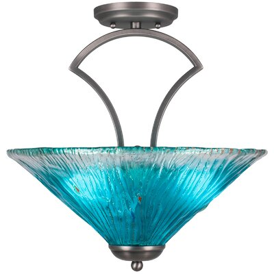 Zilo 3-Light Semi-Flush Mount Shade Color: Teal, Finish: Matte Black