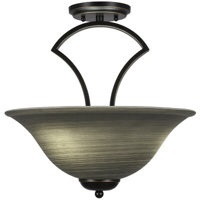 Zilo 3-Light Semi-Flush Mount Shade Color: Cayenne, Finish: Dark Granite