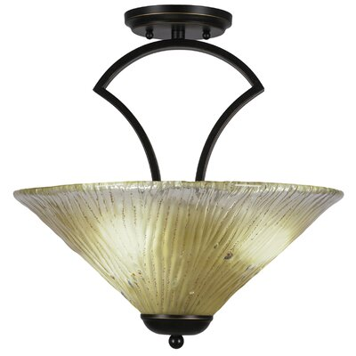 Zilo 3-Light Semi-Flush Mount Shade Color: Amber, Finish: Dark Granite