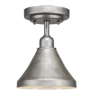 Kash 1-Light Semi Flush Mount Finish: Aged Silver, Size: 9 H x 7 W x 7 D