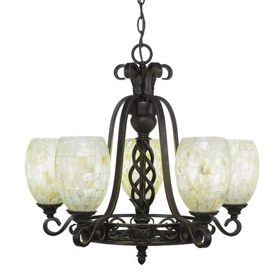 Elegant� 5-Light Shaded Chandelier Shade Color: Ivory Glaze
