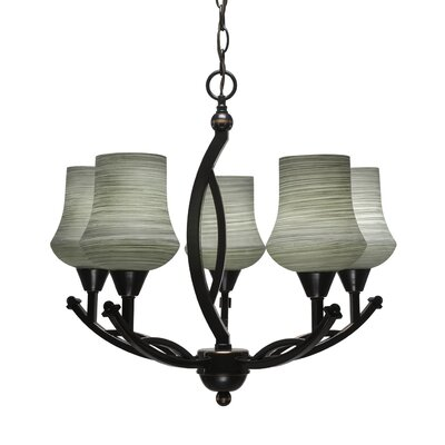 Bow 5-Light Shaded Chandelier Shade Color: White, Finish: Brushed Nickel
