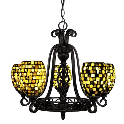Elegant� 5-Light Shaded Chandelier Shade Color: Sea Haze