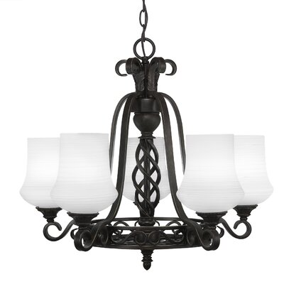 Elegant� 5-Light Shaded Chandelier Shade Color: White