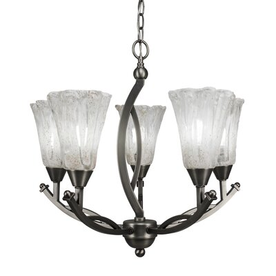 Bow 5-Light Shaded Chandelier Shade Material: Italian Ice Glass