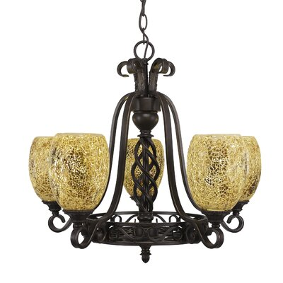 Ellesmere 5-Light Gold Fusion Shade Chandelier