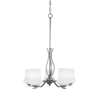 Revo 5-Light Shaded Chandelier Finish: Aged Silver