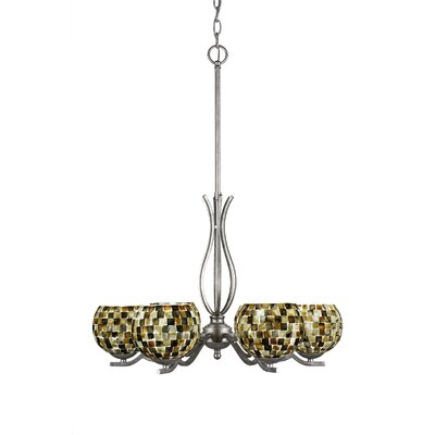 Revo 6-Light Shaded Chandelier Finish: Aged Silver