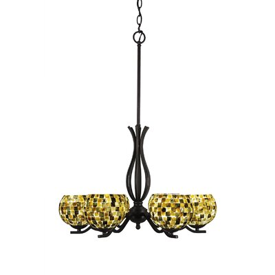 Revo 6-Light Shaded Chandelier Finish: Dark Granite