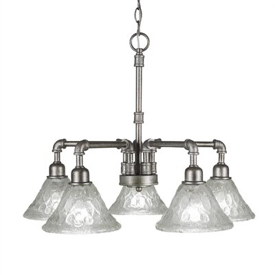 5-Light Shaded Chandelier Finish: Aged Silver