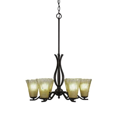 Revo 6-Light Shaded Chandelier Shade Color: Amber