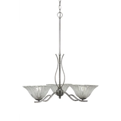 Revo 3-Light Shaded Chandelier Finish: Aged Silver