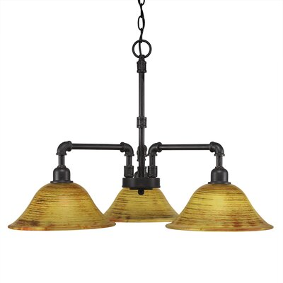 3-Light Shaded Chandelier Finish: Dark Granite
