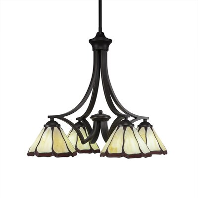 Zilo 4-Light Shaded Chandelier Shade Color: Burgundy