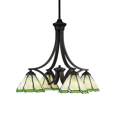 Zilo 4-Light Shaded Chandelier Shade Color: Hunter Green