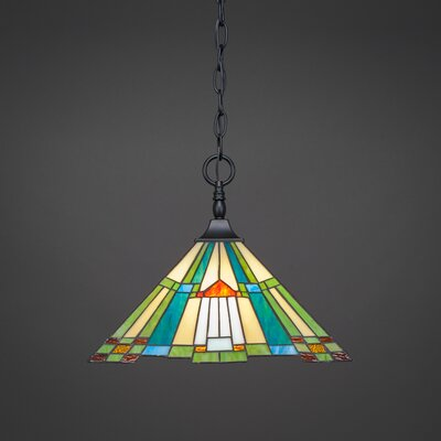 1-Light Pendant Finish: Matte Black, Shade Color: Tango Tiffany