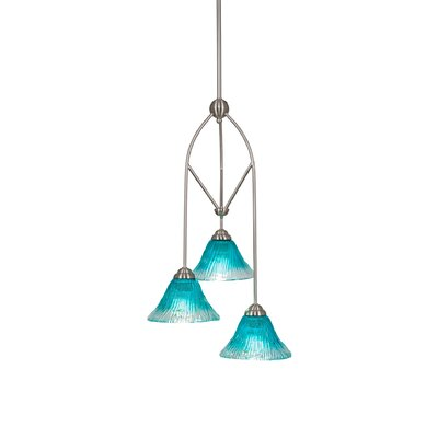 Contempo 3-Light Multi Mini Pendant With Hang Straight Swivel Shade Color: Teal