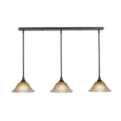 3-Light Kitchen Island Pendant Shade Color: Amber, Finish: Dark Granite
