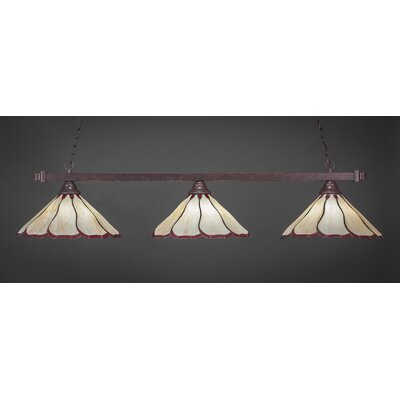 3-Light Pool TableLight Shade Color: Honey and Burgundy, Finish: Dark Granite