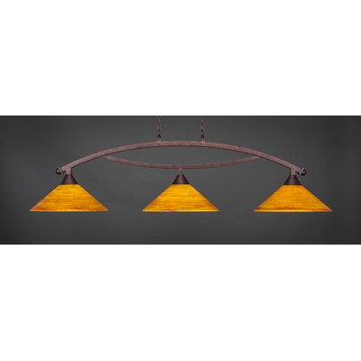 Blankenship 3-Light Downlight Blankenship Bar Pendant with Firr� Saturn Glass Shade Color: Bronze