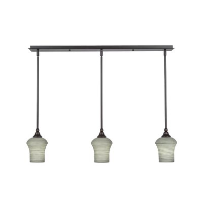3-Light Kitchen Island Pendant Shade Color: Gray
