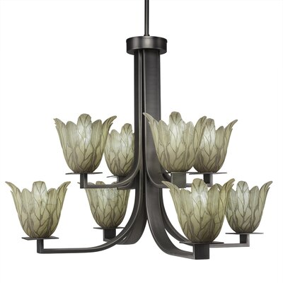 Blau 8-Light Glass Shaded Chandelier Finish: Graphite